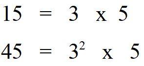 Minimo comune multiplo tra 15 e 45