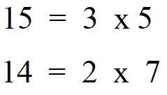 Minimo comune multiplo tra 15 e 14