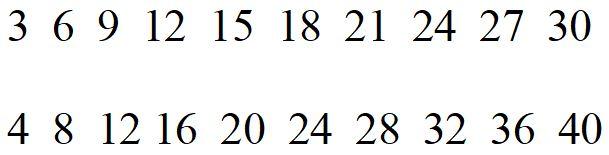 Multipli di 3 e di 4