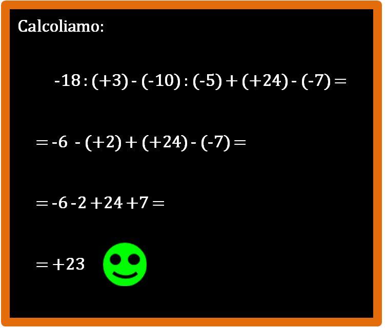 Come si eseguono le espressioni con i numeri relativi