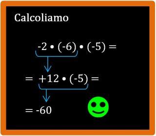 Moltiplicazione tra tre numeri relativi