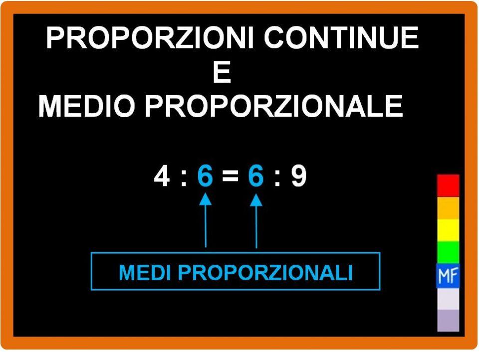 Proporzioni continue e medio proporzionale