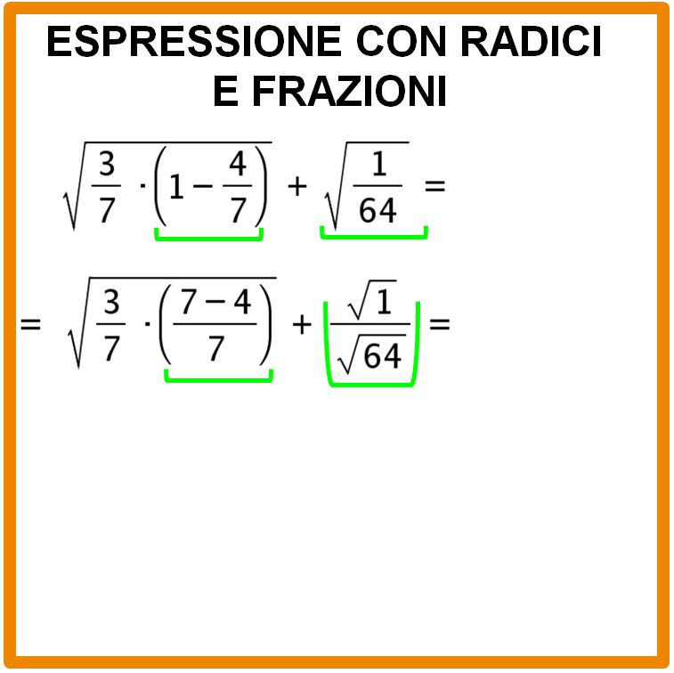 Espressione con radici e frazioni