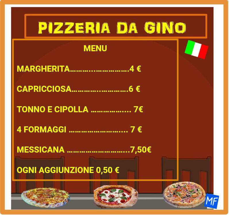 Problema di matematica in pizzeria